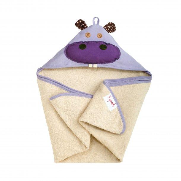 3 Sprouts - Baby Håndklæde med Hætte, Flodhest